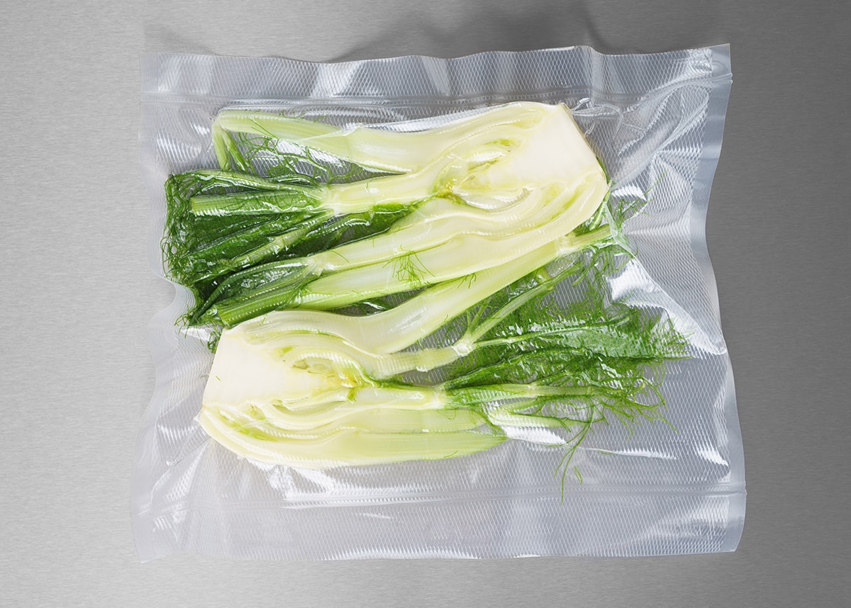 Vegetables sealed in a plastic bag unable to breathe