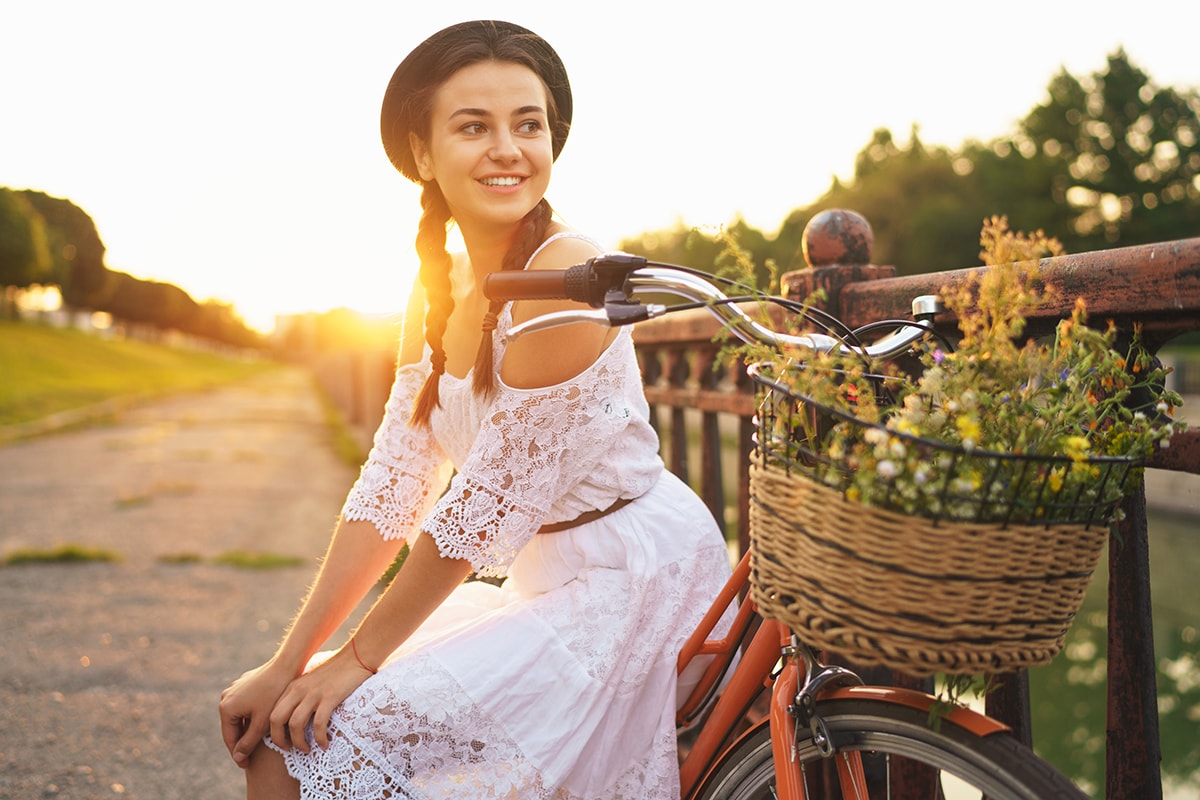 Woman on bike wondering if topical probiotics for your skin are safe?