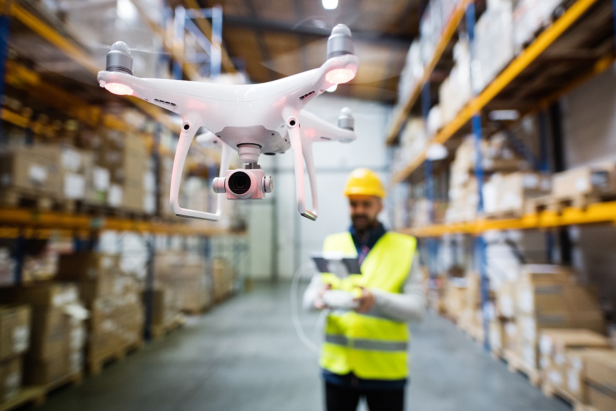 Drone in Amazon Fulfillment Center