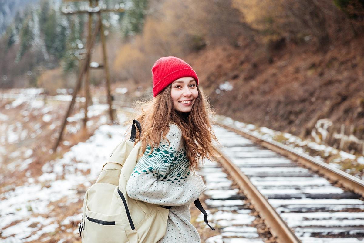 Woman taking a journey in winter