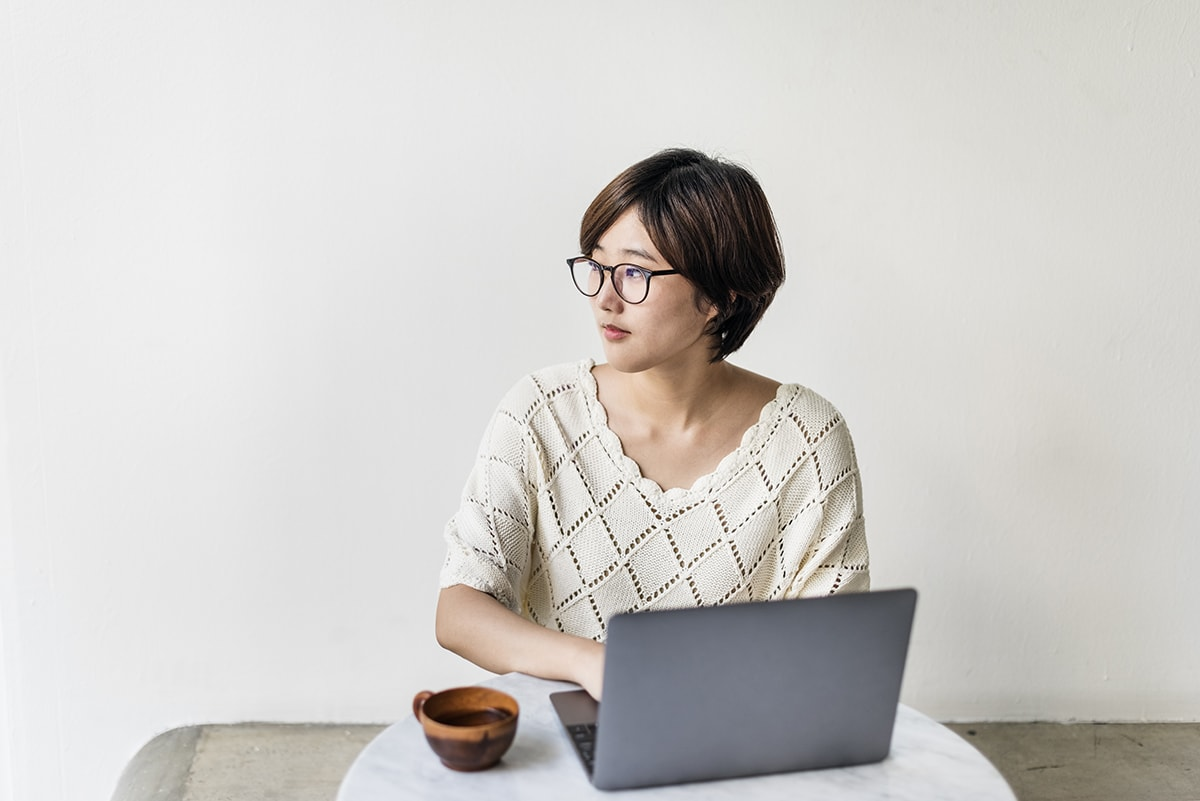 Woman thinking about liver function