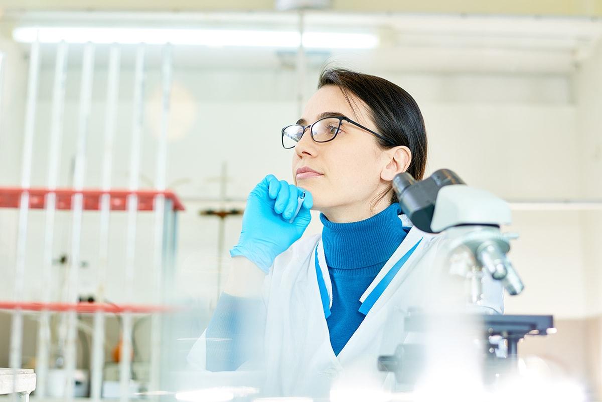 Scientist thinking about biotin