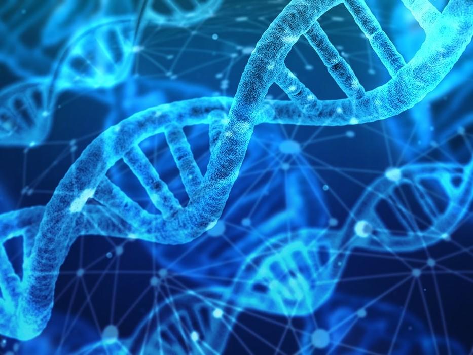Blue DNA strands