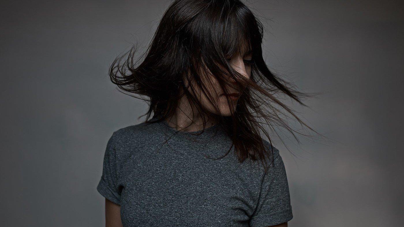Woman shaking her hair around