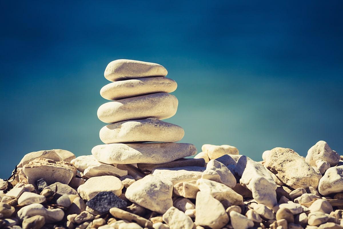 Balanced pile of stones