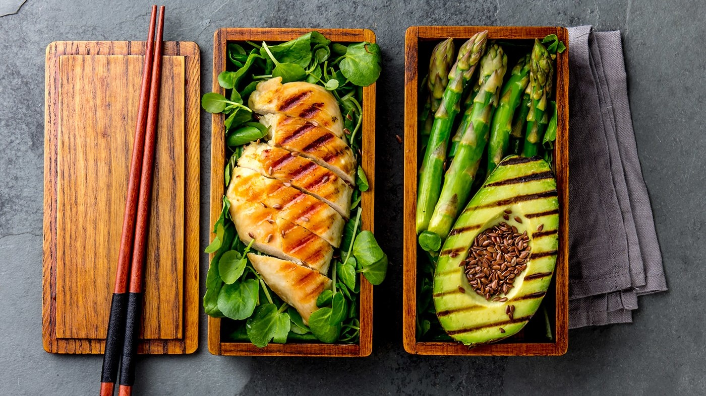 Healthy lunch in wooden box